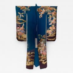 Vintage Japanese Silk Kimono with Designs - 1541354