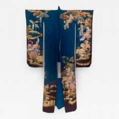 Vintage Japanese Silk Kimono with Designs - 1542800