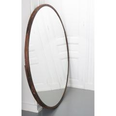 Vintage Large Round Metal Framed Mirror - 1950640