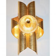 Vintage Late 1970s Modern Design Pair of Folded Brass and Clear Glass Sconces - 1042816