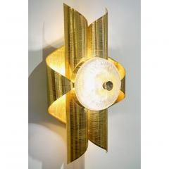 Vintage Late 1970s Modern Design Pair of Folded Brass and Clear Glass Sconces - 1042820