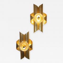Vintage Late 1970s Modern Design Pair of Folded Brass and Clear Glass Sconces - 1042903