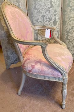 Vintage Louis XV Style Arm Chair by Interior Crafts W Pink Scalamandre Damask - 2009739