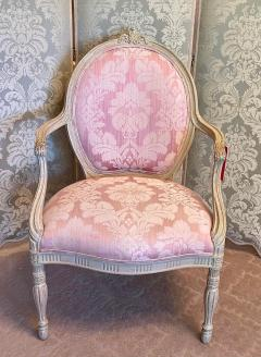 Vintage Louis XV Style Arm Chair by Interior Crafts W Pink Scalamandre Damask - 2009741