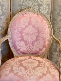 Vintage Louis XV Style Arm Chair by Interior Crafts W Pink Scalamandre Damask - 2009742