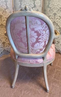 Vintage Louis XV Style Arm Chair by Interior Crafts W Pink Scalamandre Damask - 2009743
