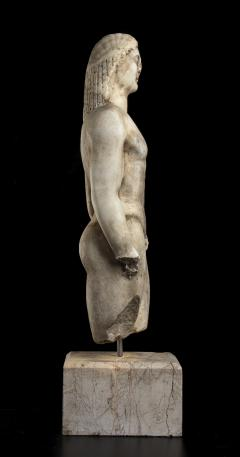 Vintage Marble Nude Figurative Sculpture of Kouros After the Antiques Grand Tour - 2000812