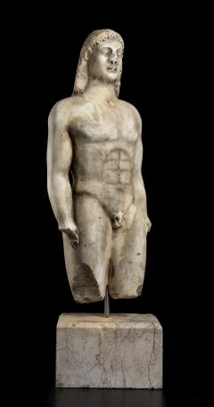 Vintage Marble Nude Figurative Sculpture of Kouros After the Antiques Grand Tour - 2000814