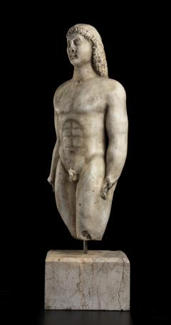 Vintage Marble Nude Figurative Sculpture of Kouros After the Antiques Grand Tour - 2000818