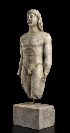 Vintage Marble Nude Figurative Sculpture of Kouros After the Antiques Grand Tour - 2000820