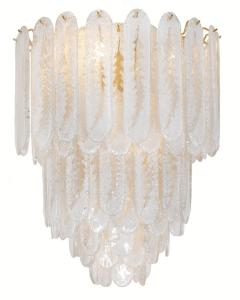 Vintage Murano Frosted Glass Pendant Light AV Mazzega Attribution - 869888