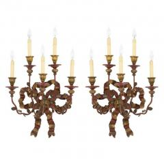 Vintage Painted Giltwood Bow Sconces A Pair - 2052365
