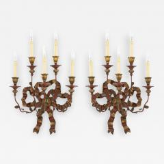 Vintage Painted Giltwood Bow Sconces A Pair - 2053088