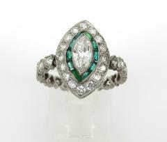 Vintage Platinum Marquise Damond and Emerald Ring - 1105877