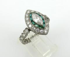 Vintage Platinum Marquise Damond and Emerald Ring - 1105878