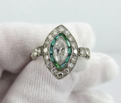 Vintage Platinum Marquise Damond and Emerald Ring - 1105879