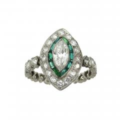 Vintage Platinum Marquise Damond and Emerald Ring - 1107198
