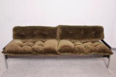 Vintage Safari Sofa Chrome and Oak Frame with Olive Green Velvet upholstery - 1224042