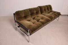 Vintage Safari Sofa Chrome and Oak Frame with Olive Green Velvet upholstery - 1224043