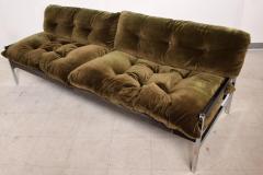 Vintage Safari Sofa Chrome and Oak Frame with Olive Green Velvet upholstery - 1224044