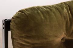 Vintage Safari Sofa Chrome and Oak Frame with Olive Green Velvet upholstery - 1224045