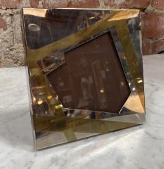 Vintage Small Chrome and brass Picture Frame Italy 1970 - 2078248