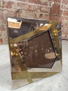 Vintage Small Chrome and brass Picture Frame Italy 1970 - 2078249