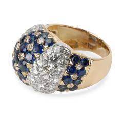 Vintage Tiffany Co Domed Diamond Sapphire Ring in 18K Yellow Gold 2 5 CTW - 1287664