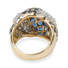 Vintage Tiffany Co Domed Diamond Sapphire Ring in 18K Yellow Gold 2 5 CTW - 1287666
