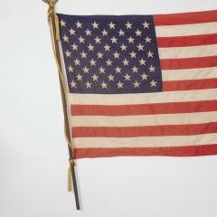 Vintage USA American FLAG 50 Star Stars Stripes on Eagle Flag Pole - 1504293