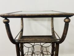 Vintage Wine Rack Metal Table in Antiqued Finish - 1591736