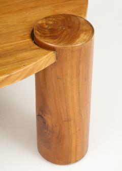 Vintage Wood Table with Cylindrical Legs France c 1950s  - 1223973
