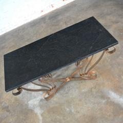 Vintage art deco style wrought iron granite top sofa console table - 2130311