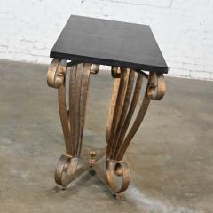 Vintage art deco style wrought iron granite top sofa console table - 2130314