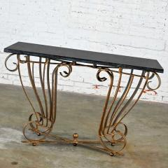 Vintage art deco style wrought iron granite top sofa console table - 2130317