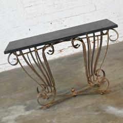 Vintage art deco style wrought iron granite top sofa console table - 2130334