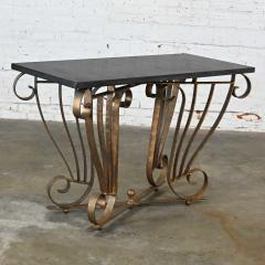 Vintage art deco style wrought iron granite top sofa console table - 2130336