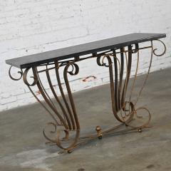 Vintage art deco style wrought iron granite top sofa console table - 2130337