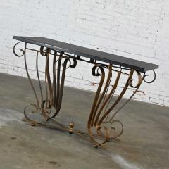 Vintage art deco style wrought iron granite top sofa console table - 2130339