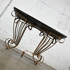 Vintage art deco style wrought iron granite top sofa console table - 2130365