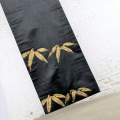 Vintage black silk japanese obi with gold bamboo hand painted design - 1706224