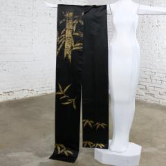 Vintage black silk japanese obi with gold bamboo hand painted design - 1706245