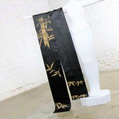 Vintage black silk japanese obi with gold bamboo hand painted design - 1706290