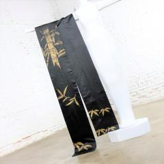 Vintage black silk japanese obi with gold bamboo hand painted design - 1706299