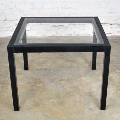 Vintage blackened oak parsons style side table with glass top - 1693032