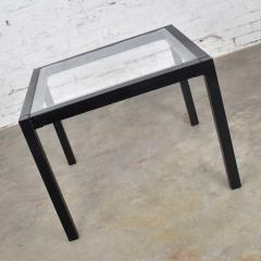 Vintage blackened oak parsons style side table with glass top - 1693033