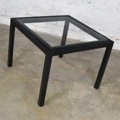 Vintage blackened oak parsons style side table with glass top - 1693034