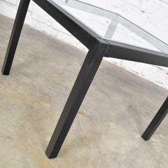 Vintage blackened oak parsons style side table with glass top - 1693035