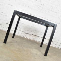 Vintage blackened oak parsons style side table with glass top - 1693046