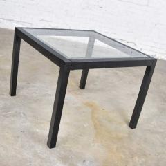 Vintage blackened oak parsons style side table with glass top - 1693047